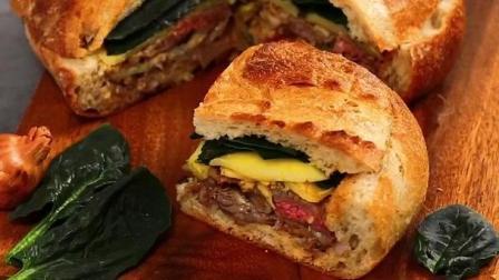 美食的诱惑 制作超级美味的法式乡村牛排三明治!