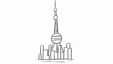 上海东方明珠电视塔幼儿亲子简笔画