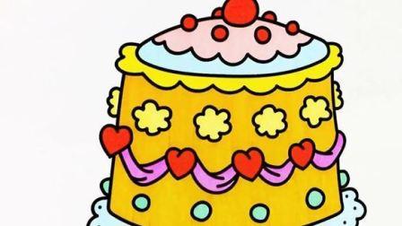 用水彩笔画一个双层蕾丝巧克力生日蛋糕 爸爸梦工厂