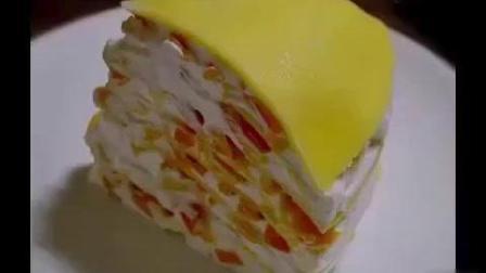 在家自制【芒果千层蛋糕】满满的都是芒果肉, 省钱又健康