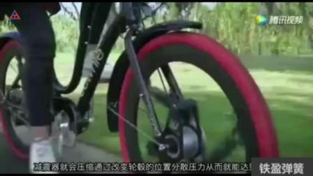自行车安装上减震车轮爬楼梯那是小事! 由三个气弹簧组成的车轮! 科技改变人们生活方式!