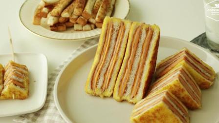 【Cooking ASMR】金黄酥软的草莓芝士火腿三明治