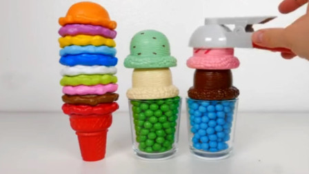 微波炉玩具 冰淇淋甜筒和冰淇淋球 糖果冰淇淋和惊喜玩具