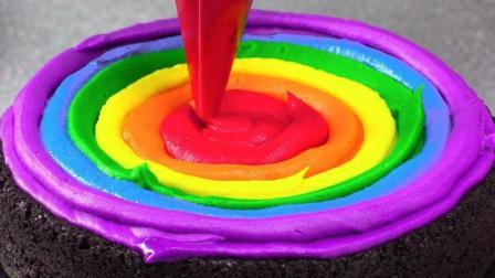 diy一个彩虹马卡龙蛋糕! 满满的巧克力!
