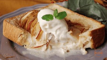 90秒教你自制美味甜点, 黄油苹果冰淇淋三明治