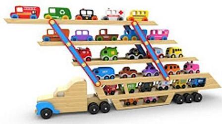 汽车游戏 儿童学习汽车运输玩具街的车辆