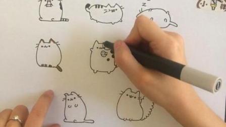 小样卡通画 又肥又萌的大猫爬到手帐上画面可爱卡通简笔画
