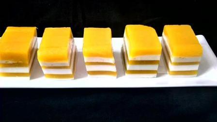 芒果椰汁千层糕的制作融合了芒果和椰子的双重口感