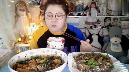 大胃王胖胖姐自制水煮丸, 黑椒牛肉, 看着就好想吃!