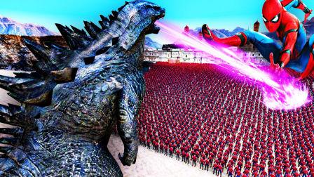 【屌德斯解说】 史诗战争模拟器 史无前例1000只巨型哥斯拉大战10000个蜘蛛侠