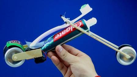 很酷! 利用牙膏、牙刷、易拉罐简单DIY一辆摩托车