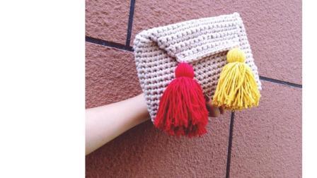 【小月手作第34集】手工编织布diy条线流苏手拿包粗毛线手工编织