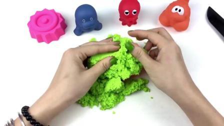 太空沙DIY小蛋糕, 各种颜色拼接, 童谣学习颜色英语