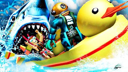 【屌德斯&小熙】 Roblox鲨鱼生存模拟器 战舰被大白鲨吃掉一半最终将鲨鱼反杀!