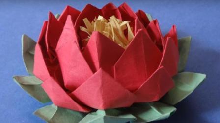 折纸花的方法简单折纸大全图解 又好看又简单的莲花折法 立体手工创意diy教程