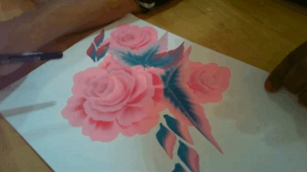 一笔绘画教程, 丙烯画粉色玫瑰花