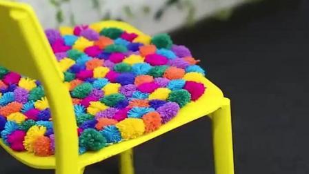 手工DIY, 简易方法制作毛线球球坐垫和装饰品