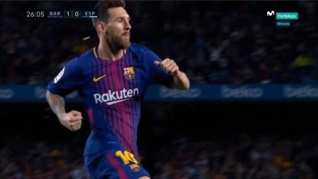 帽子戏法生涯独造800球!梅西vs西班牙人个人集锦(现场音)2017.9.10