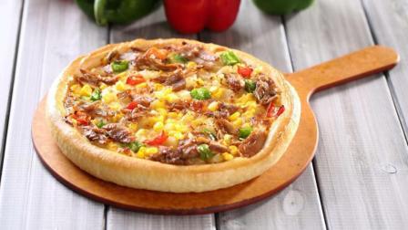 烧烤鸡肉玉米披萨。, 鸡肉鲜嫩多汁, 蔬菜香甜, 五彩缤纷超美味!