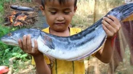 哇! 柬埔寨大叔撒网捕鱼技术一流, 令人佩服