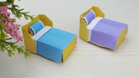 有趣的折纸系列: 芭比娃娃的小床 手工组装小房子卧室套件