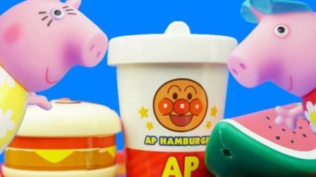 小猪佩奇第四季 第5集 粉红小猪去面包超人汉堡店吃东西 儿童故事