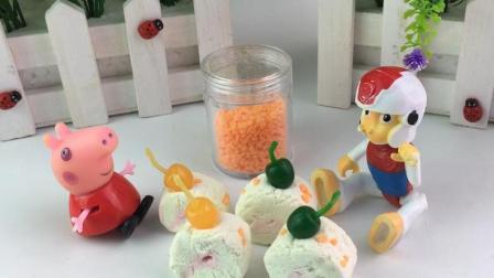 小猪佩奇的玩具世界 2017 小猪佩奇做蛋糕 与莱德队长分享