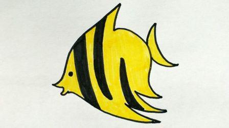 宝宝爱画画第三课 海洋鱼卡通画图片教程, 儿童简笔画绘画视频教学