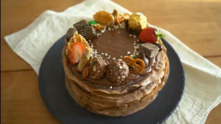 将花生酱和煎饼一层一层叠起来的生日蛋糕, 简单易做, 不用出去买了