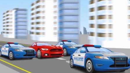 汽车总动员动漫 警车工作视频表演 红黄赛车飙车造成多起交通事故, 警车大追捕