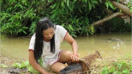 农村女孩带狗狗下水捕鱼, 效率很高, 每天都抓到十几条