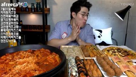 韩国吃播鱼饼拉面炒年糕芝士披萨美食_25