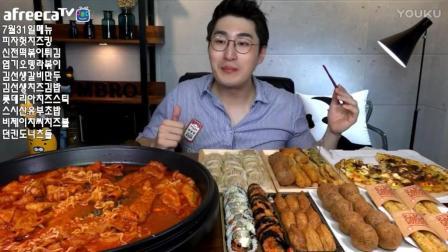 韩国吃播鱼饼拉面炒年糕芝士披萨美食_54