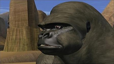 黄豹有难,黑猩猩居然骑着犀牛赶过来了