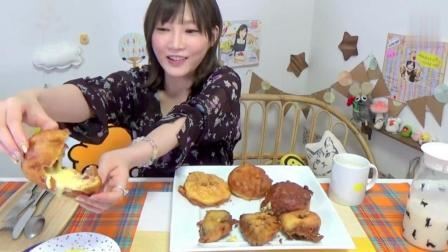 日本大胃王吃货木下妹子挑战, 吃超高热量的油炸奶油泡芙和炒巧克力