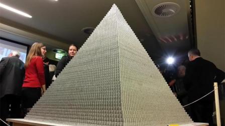 """世界最大""""金字塔"""", 用100万硬币堆叠, 猜猜多少钱?"""
