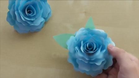 玫瑰花手工DIY教程, 折纸剪纸漂亮精致的蓝玫瑰