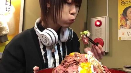 这么大碗牛肉生鸡蛋饭, 日本大胃王吃几下就吃完了
