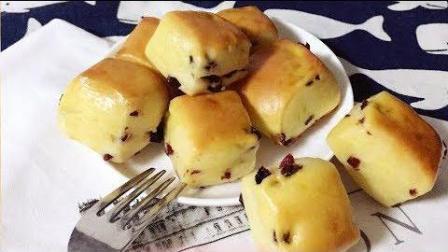 美食制作 蔓越莓酸奶方块小面包, 浓郁奶香味好吃的停不下来
