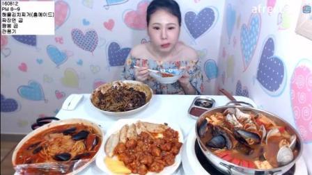 韩国大胃王弗朗西斯卡吃泡菜海鲜汤、炸酱面、海鲜面、干烹鸡