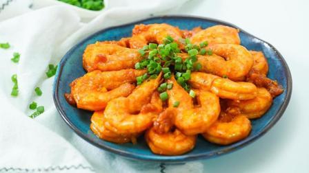 黄晓明做的茄汁大虾, 比油焖大虾好吃一百倍! 做法原来这么简单