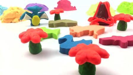 亲子早教, 太空沙DIY小恐龙蛋糕, 学习颜色