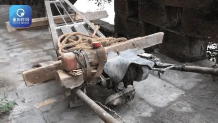 男子改装手推车 施工拉运遛到飞