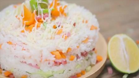 【米饭蛋糕】剩米饭不知道怎么吃? 做成蛋糕呀~不仅做法简单还可以放多种营养的食材~