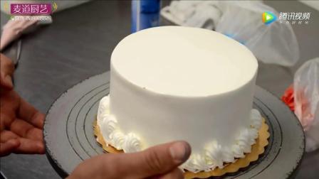 蛋糕裱花: 玫瑰奶油韩式裱花生日蛋糕