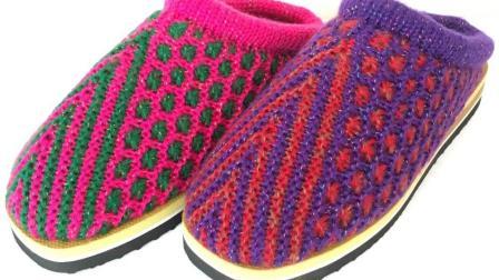 巧手女工编织坊第十八集 双色人字形侧边太阳花编织教学视频毛线拖鞋编织方法