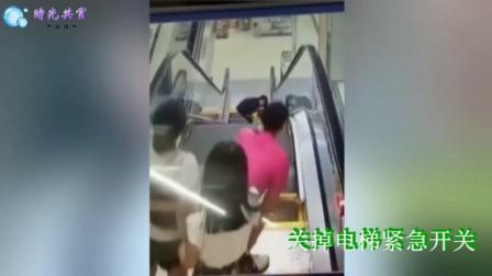孩子电梯夹手 红衣女切断电源