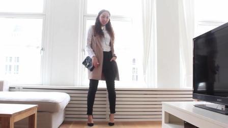 美女白领穿黑色紧身裤搭高跟鞋, 职业休闲两不误, 尽显高贵气质!