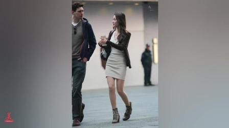 街拍到一个高颜值包臀美女, 可惜被一外国男领走