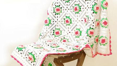 【小脚丫】含苞待放1毯子DIY手工钩针牛奶棉线毛毯沙发垫盖毯午睡毯坐垫编织视频教程平针花样大集合
